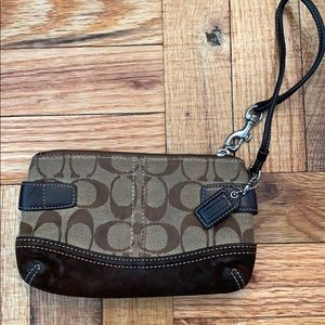 Brown Coach Wristlet with strap